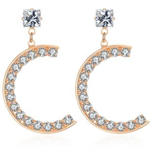 New alloy diamond retro creative C-shaped earrings NHCT170401's discount tags