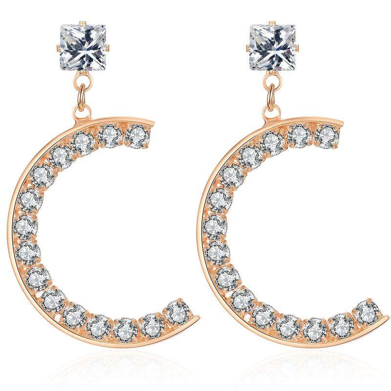 New alloy diamond retro creative Cshaped earrings NHCT170401