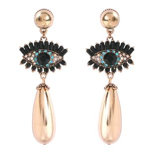 New devil eye with diamond drop-shaped pearl earrings NHMD170483's discount tags