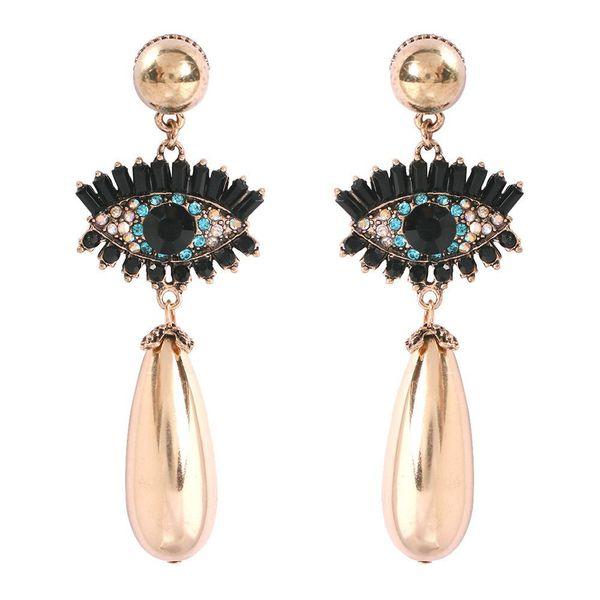 New devil eye with diamond drop-shaped pearl earrings NHMD170483