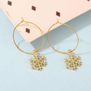New fashion snowflake diamond ring Christmas stud earrings NHNZ170121's discount tags