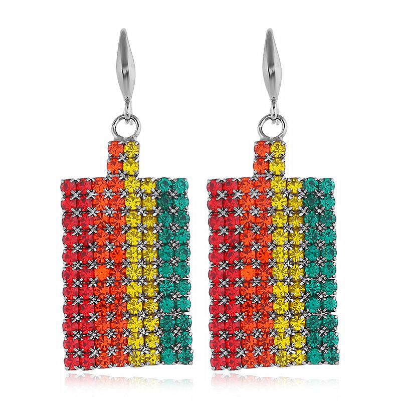 Fashion Diamonds Exaggerated Alloy Geometric Rainbow Earrings NHVA170488