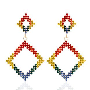 Stylish contrast color rhombus rhinestone diamond earrings NHCT170396's discount tags