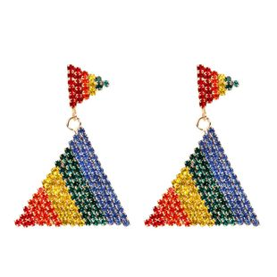 Rainbow Diamond Triangle Earrings NHCT170397's discount tags