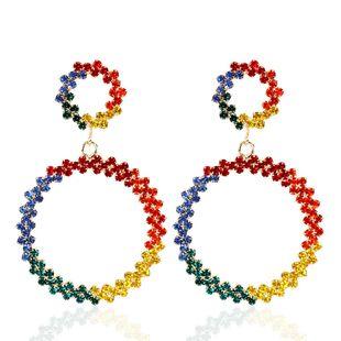 Circle diamond-studded earrings NHCT170400's discount tags