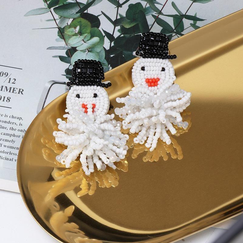 New Christmas Santa Snowflake Snowball Bead Earrings NHJJ170290