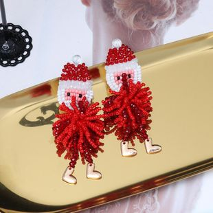 New Christmas Old Man Snowflake Snowball Bead Earrings NHJJ170292's discount tags