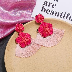 Vintage bohemian fan with tassel earrings NHKQ170157's discount tags