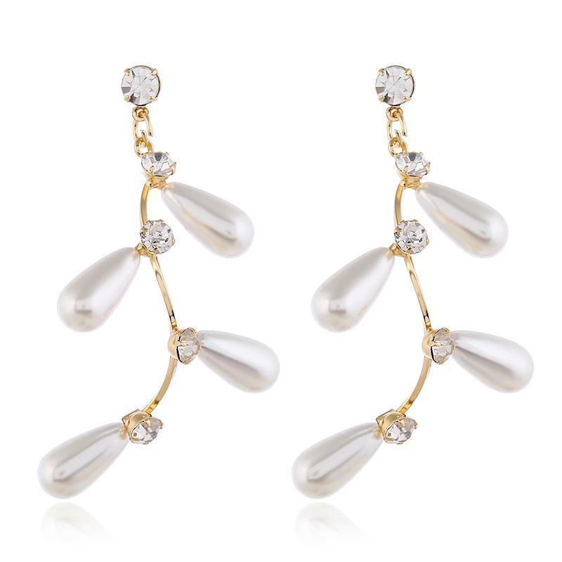 Fashion Pearl and Diamond Branch Earrings NHVA170486