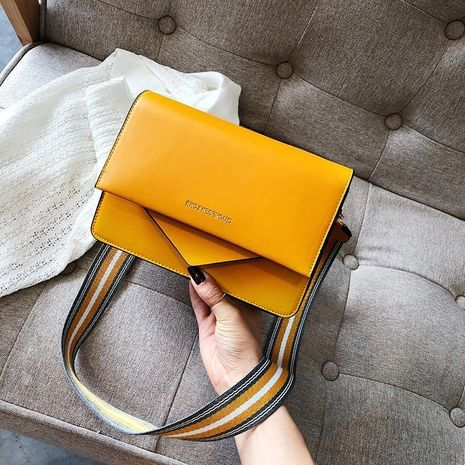 Korean version of the wild single shoulder slung fashion contrast color broadband small square bag NHXC170602's discount tags