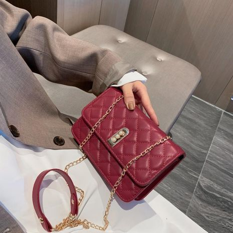 Korean version of the autumn and winter winter small fragrance rhombic chain shoulder Messenger bag NHXC170630's discount tags