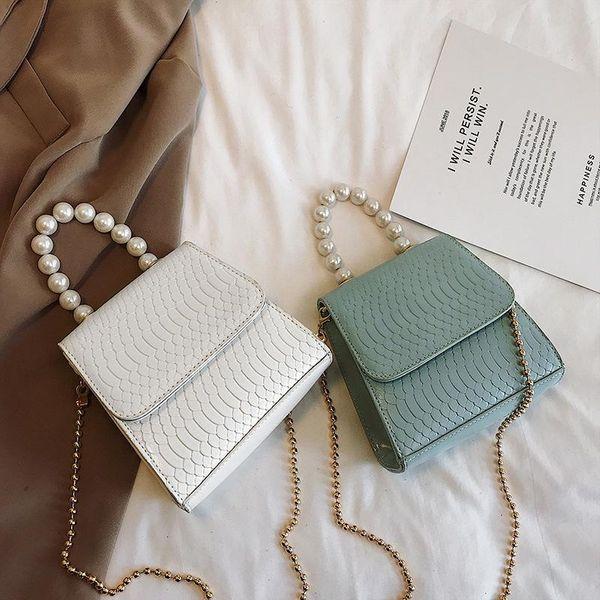 New chain shoulder slung fashion pearl portable small square bag NHPB170771