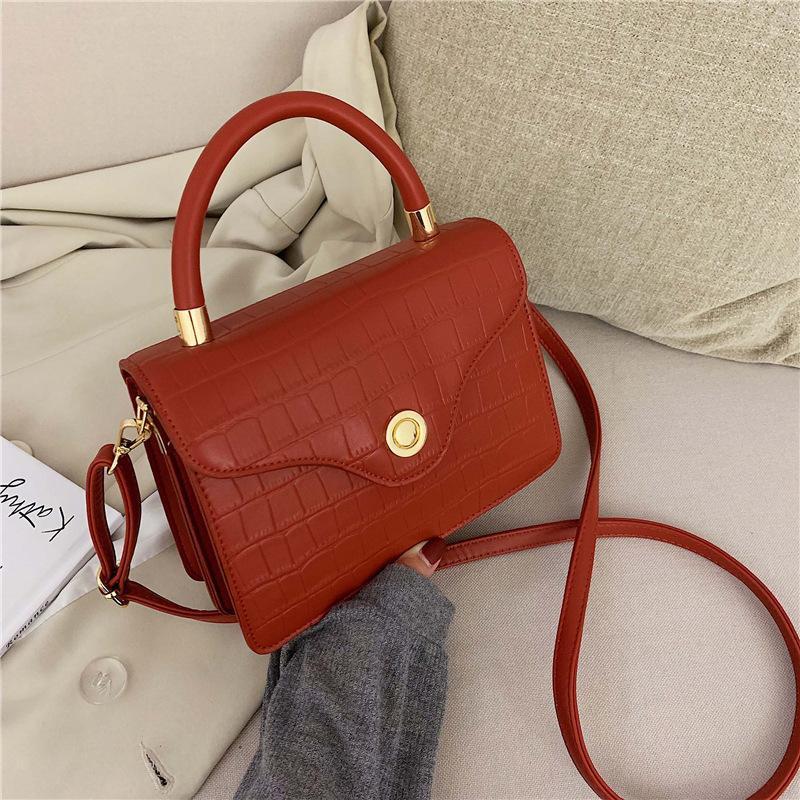 New simple fashion retro solid color handbag small fresh crocodile pattern shoulder Messenger bag NHPB170788