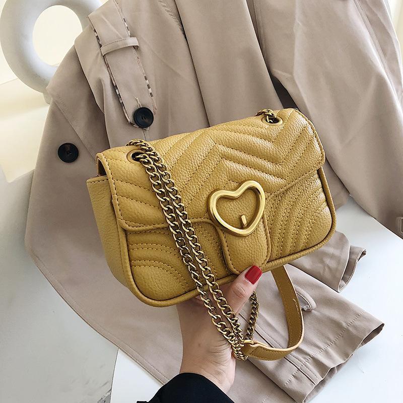 New fashion heart-shaped lock shoulder bag simple rhombic chain slung small square bag NHPB170840