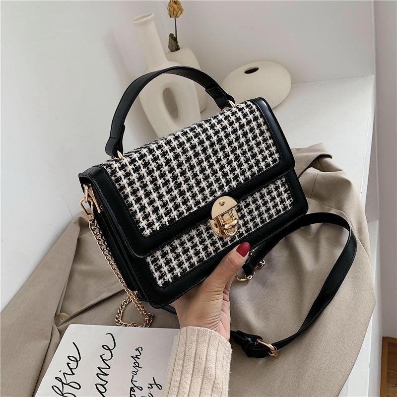 New woolen handbag retro small square bag casual messenger bag NHTC170917