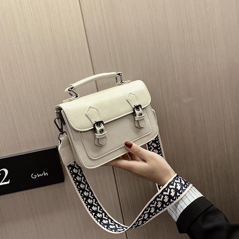 Wide shoulder strap bag new fashion simple Messenger bag retro small square bag NHTC170930