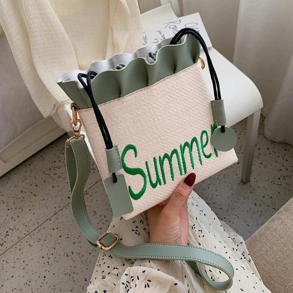 Embroidery bag new casual bucket bag fashion straw shoulder Messenger bag NHPB170810