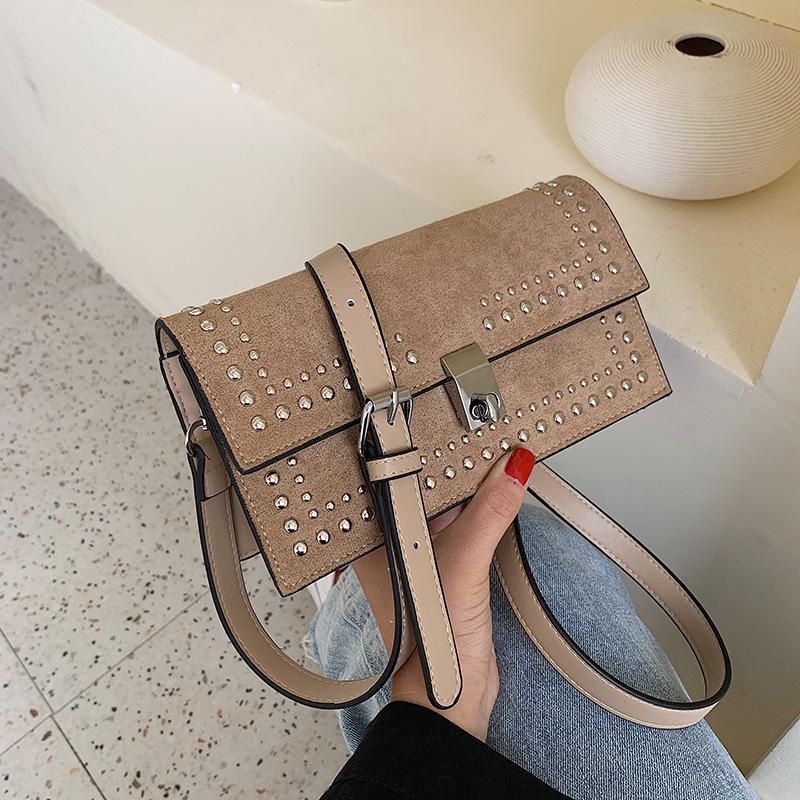 New simple retro fashion rivet chain bag matte lock single shoulder slung small square bag NHPB170825
