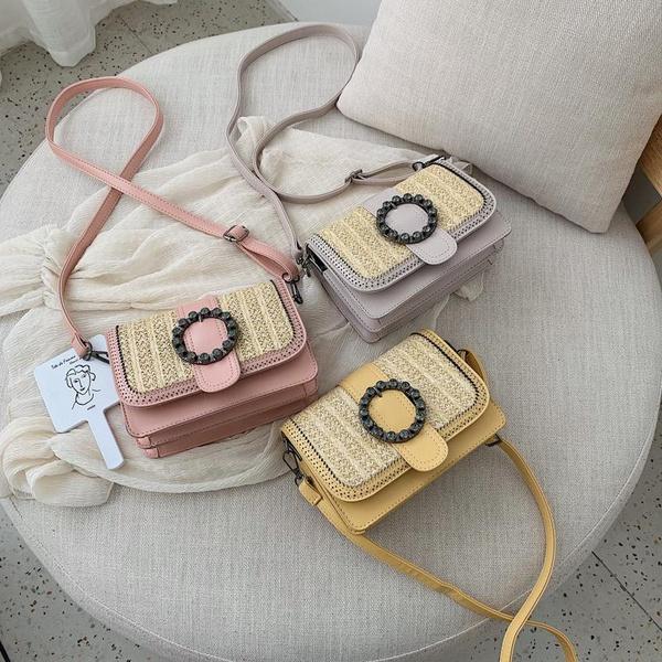 New woven small square bag fashion stitching straw shoulder bag Messenger bag NHPB170834