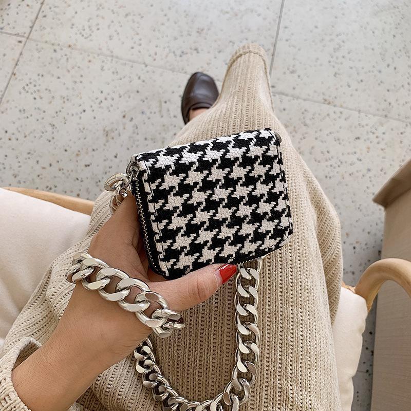 Fashion houndstooth tweed chain shoulder messenger bag NHTC170499