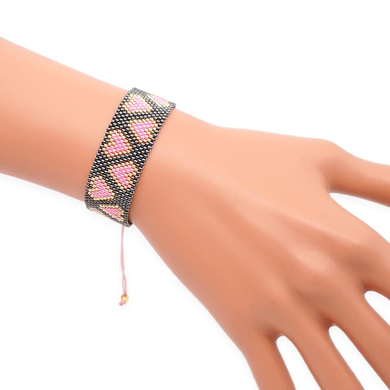 Miyuki imported DB antique rice beads hand-woven heart-shaped pattern bracelet NHGW170952