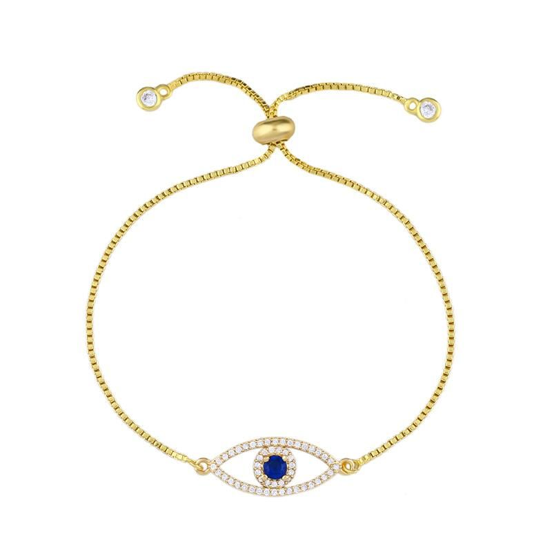 Fashion Pulling Devil's Eye Full Diamond Simple Bracelet NHAS171009