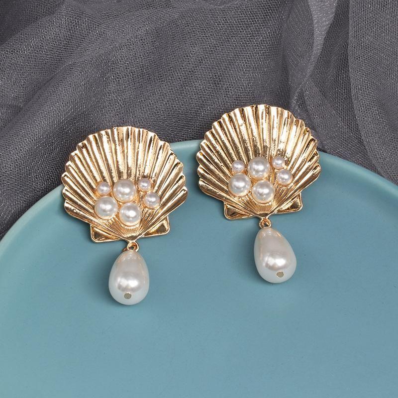 Fashion Alloy Shell Pearl Earrings NHJJ171182