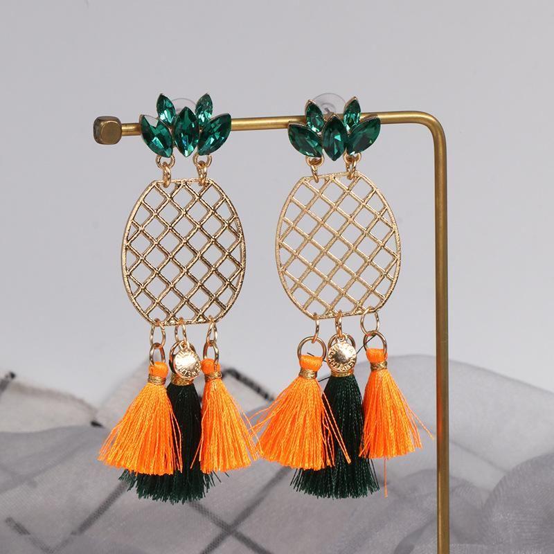 Fashion pineapple tassel earrings NHJJ171183
