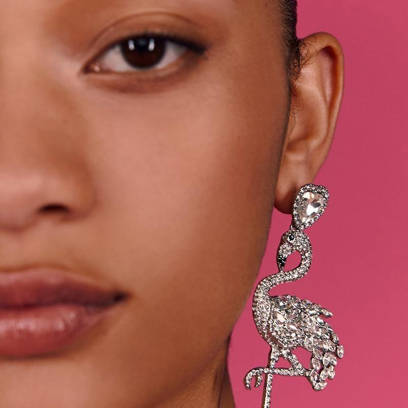 Fashion flamingo long diamond stud earrings NHJJ171186