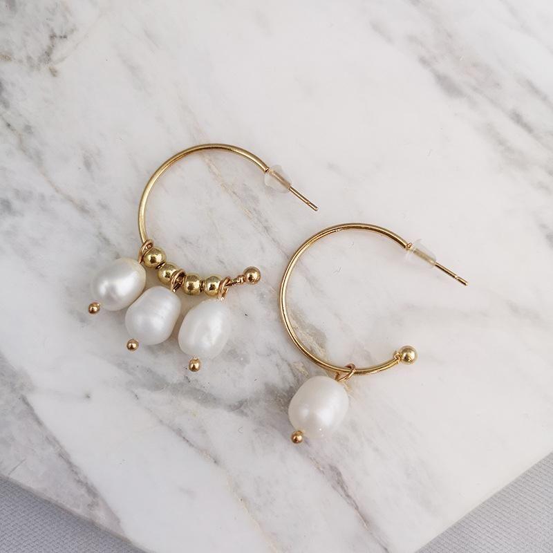 New Fashion Baroque Pearl Asymmetric Vintage C-Shaped Drop Pearl Stud Earrings NHJJ171185