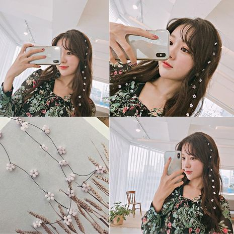 New beaded hairpin pearl string top clip sweet cute hair accessories NHOF171035's discount tags