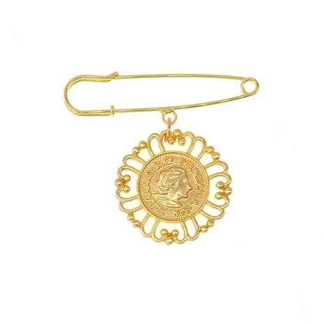 Coin beauty head tassel brooch NHNT171063's discount tags
