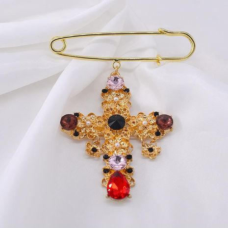 Retro cross bang hollow color crystal brooch NHNT171068's discount tags