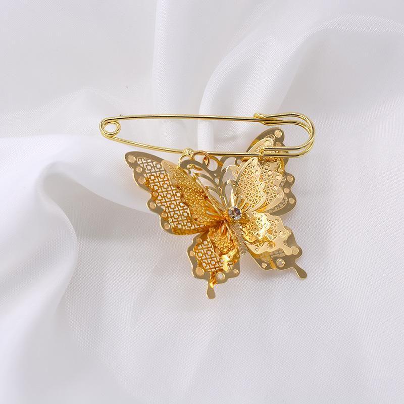 Fashion silk scarf buckle butterfly large brooch NHNT171073