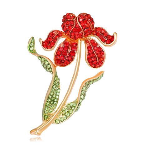 Temperament alloy diamond-studded rhododendron flower brooch NHDR171101's discount tags