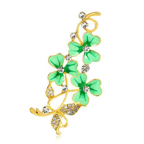 Autumn and winter lucky clover drops oil flower brooch NHDR171102's discount tags