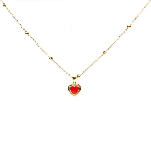 Fashion micro-set color diamond drop red peach heart-shaped necklace NHPY171168
