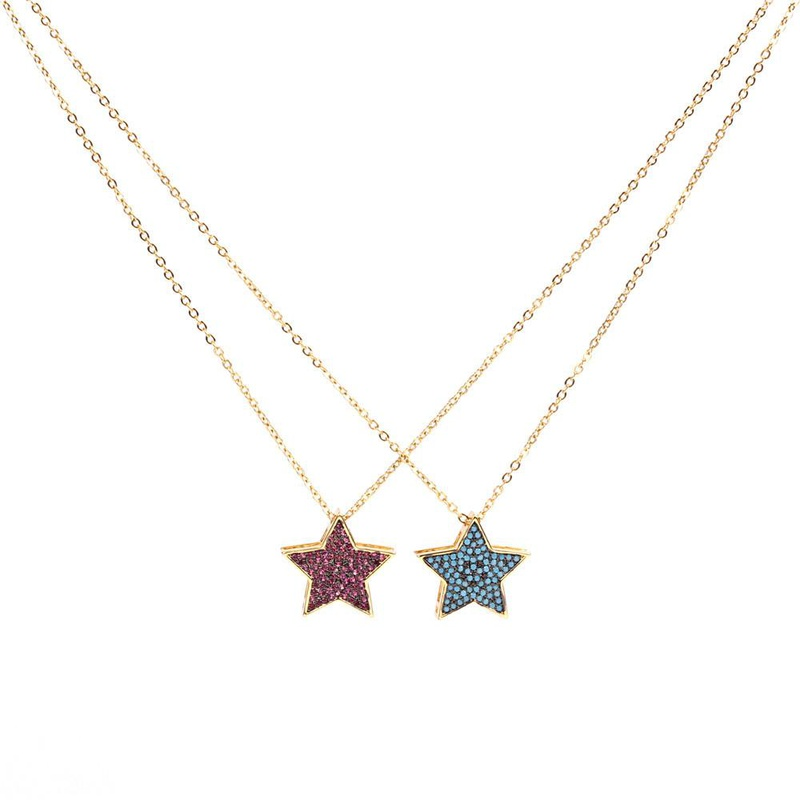 European and American fashion personality micro-studded zircon pentagonal star pendant necklace NHPY171169