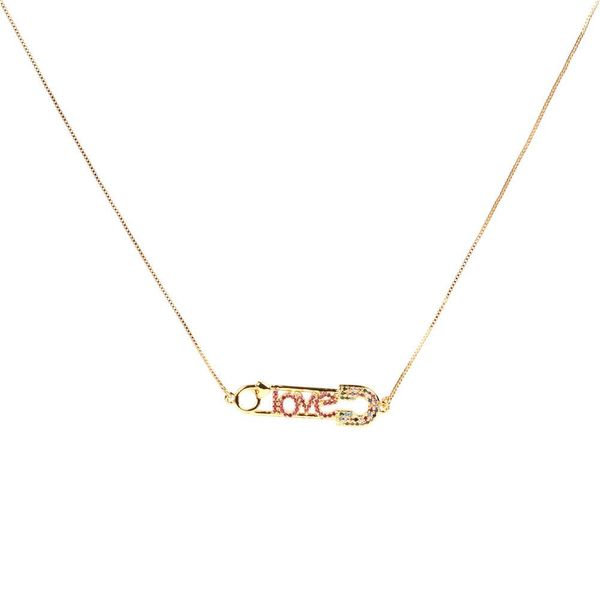 Fashion copper plated gold plated micro-inlaid zircon LOVE love pendant clavicle chain necklace NHPY171172