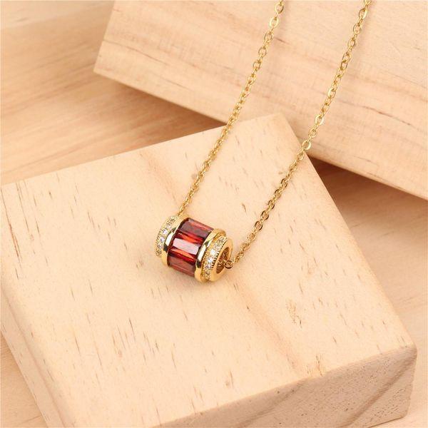 Temperament fashion color zircon artificial gemstone clavicle chain necklace NHPY171175