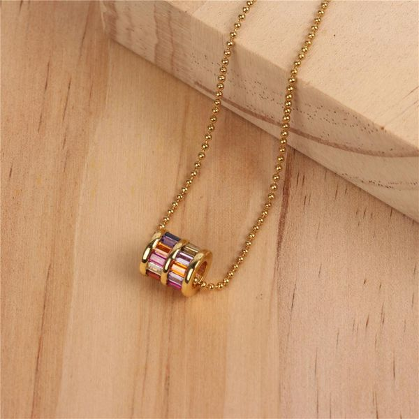 New small waist necklace micro-encrusted clavicle chain female personality ring pendant temperament short bead chain wholesale NHPY171177