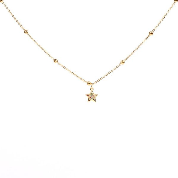 Fashion artificial gemstone sweet five-pointed star cute star clavicle necklace NHPY171178