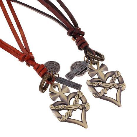 Collier coeur en alliage de cuir réglable en cuir de corde de mode NHPK171093's discount tags