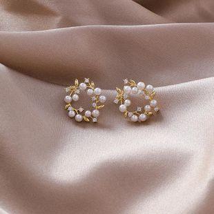 925 Silver Needle Sweet Mini Petite Pearl Wreath Rhinestone Pendientes de anillo NHMS170932's discount tags