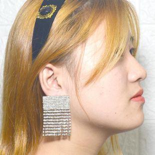 Pendientes cuadrados de borla larga de diamantes de imitación de temperamento de moda NHNT171056's discount tags