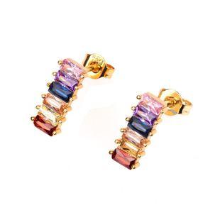 Conjunto de piedras preciosas de circonita de color cuadrado con pendientes para hombres y mujeres NHPY171162's discount tags