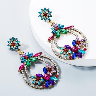 European and American personality color national wind wave Simia female alloy color rhinestone earrings NHLN171044's discount tags