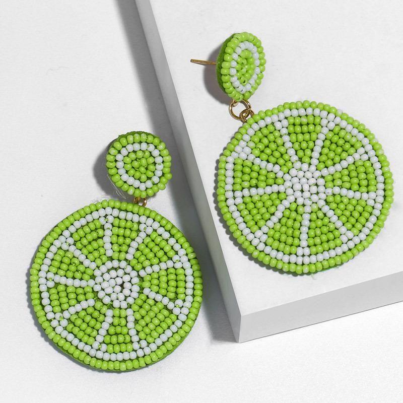 European and American handmade creative rice beads small fresh lemon orange earrings NHAS171008