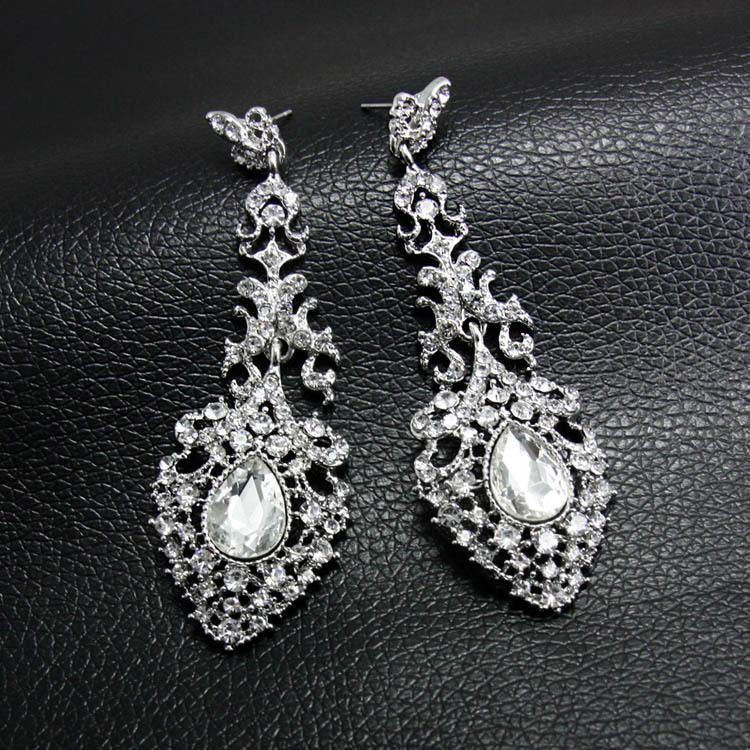 Fashion dripping bride wedding crystal earrings NHAS171011