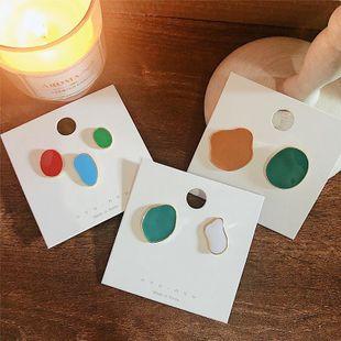 Corea Dongdaemun 925 Silver Needle Color Art Pendientes asimétricos irregulares NHYQ171123's discount tags